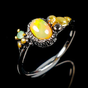 Beauty-Rainbow6x4mm-Natural-Opal-925-Sterling-Silver-Ring-Size-7-25-R105093