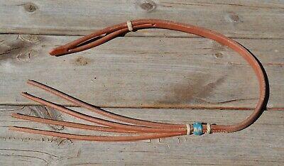 Nat//Latigo Jose Ortiz Flat Harness Leather Romel Reins 4 Braided Rawhide Knots
