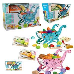 Carro-de-la-compra-Ninos-Childrens-Carro-Con-Juego-Juguete-Regalo-fruta-de-plastico-36-piezas