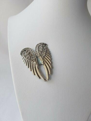 Magnet Brosche Schal Poncho Taschen Strass Steine Anstecker Silber Flügel Engel