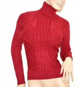 Maillot-rouge-femme-col-haut-a-manches-longues-chemise-pullover-chandail-trui-G1
