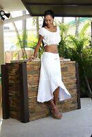 Pagari Organic Cotton Embroidered Waist Drawstring Mid Calf Low High Skirt