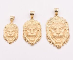 Men-039-s-Diamond-Cut-Lion-Head-Charm-Pendant-Real-Solid-10K-Yellow-Gold-ALL-SIZES