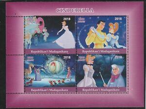 Charmant Madagascar 7669 - 2018 Cinderella Perf Feuille De 4 Non Montés Excellent État Le Plus Grand Confort
