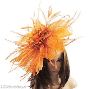 Matrimoni per J1 Proms Ascot arancione Derby Fascinator twWqf7FF