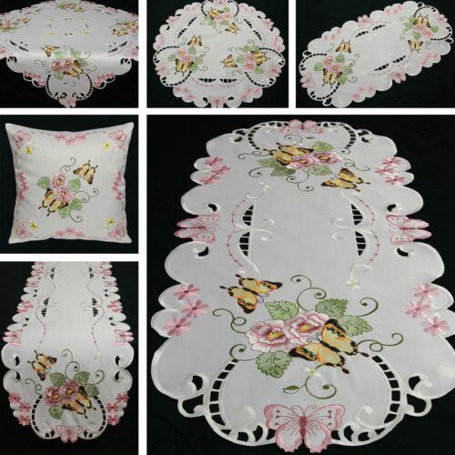 Schmetterling Tischläufer Tischdecke Kissenhülle Weiß Rosa Grün Blumen Stickerei