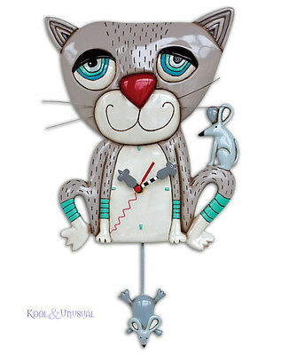 Fabulous MOUSER Grey Cat Designer Wall Clock by Allen Designs