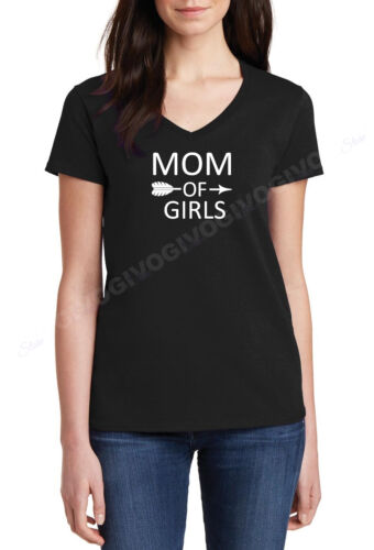 V-neck Mom Of Girls Shirt Mother/'s Day Gift Mama Tee Women Ladies T-shirt S-XXXL