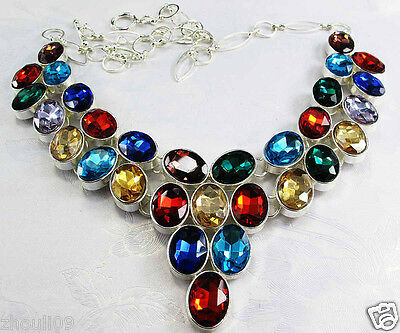 New Design Women gorgeous Bib Statement multi crystal Floral necklace collar 402