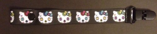 SUPER CUTE HELLO KITTY DAY OF THE DEAD BABY PACIFIER HOLDER CLIP