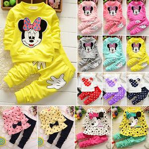 2-pz-completo-vestito-bambino-Minnie-Mouse-Felpa-PANTALONI-ABITO