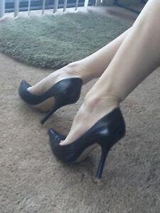 6e0d038732 BLacK LeATheR Sz 6.5 Pointy Toe CARRIE Stilettos High Heels PUMP ...