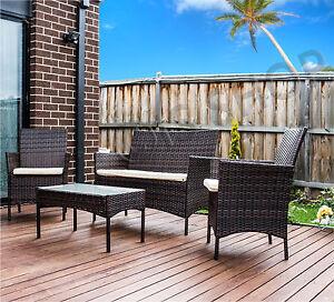 4Pc PE Coffee Brown Wicker Rattan Garden Lounge Outdoor ...
