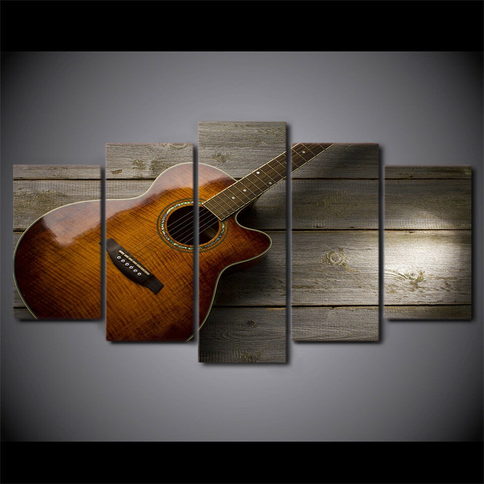 Guitar Vintage Music Instrument 5 Piece Canvas Wall Art HD Printed Home Decor