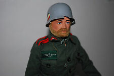 Action Man German Stormtrooper Uniform 1964 Fuzzy Haired, luger, machine gun