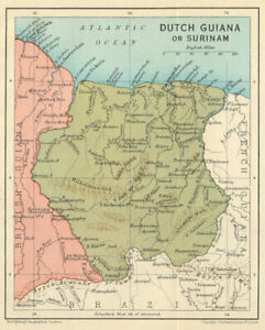 DUTCH GUIANA or SURINAME. Vintage map. Guyanas. West Ins ... on