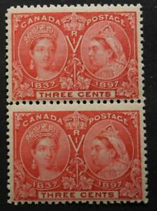 Canada-53-MNH-OG-Pair-Of-Queen-Victoria-Jubilees-1897