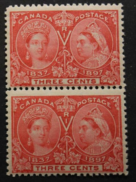 Canada #53, MNH OG, Pair Of Queen Victoria Jubilees, 1897