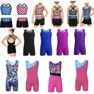 Girl-Metallic-Ballet-Leotard-Gymnastics-Tank-Top-Unitard-Dancewear-Tutu-Dress