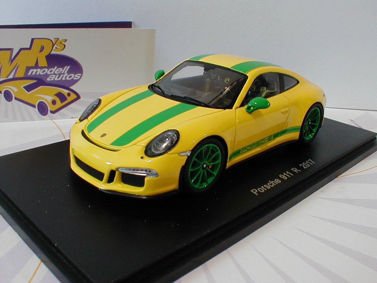 Spark s4957-Porsche 911 R en  amarillo-verde  año de construcción 2017 1 43 novedad