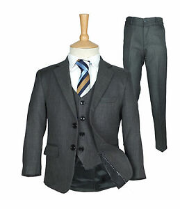 Boys Formal Charcoal Grey Suit Italian Wedding Prom Page Boy Dark ...