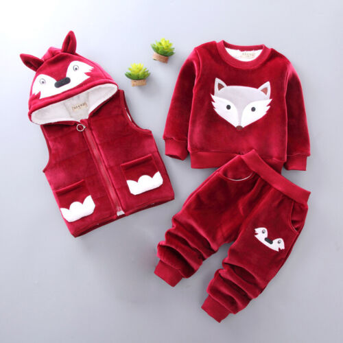 Lovely Fox Winter Kids Baby Clothes Sets Outfits Thick Warm Toddler Suits 3pcs