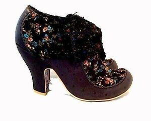 NEW-WOMEN-039-S-ANKLE-BOOT-BLACK-FLORAL-LEATHER-KNIT-BOW-IRREGULAR-CHOICE-SIZE-6-5
