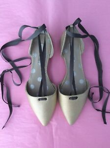 Gorgeous-Brand-New-BODEN-Metallic-Gold-Florence-Flat-Ribbon-Tie-Shoes-Size-5-38