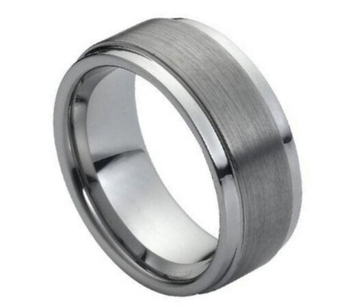 Tungsten Ring Brushed Gun Metal Gray Grey Ridged Wedding Anniversary TR005 IW