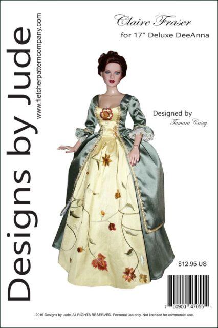 "Outlander Claire Fraser Sewing Pattern for 16/"" Tyler Dolls Poldark"