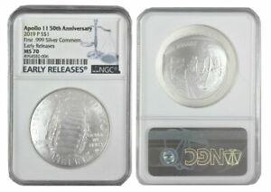 2019 P Apollo 11 50th Anniversary Silver Dollar Comm Sale Price NGC MS 70 ER