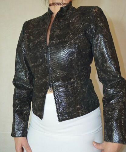 10 Real Glossy Black Snake Print Millan Jacket Ladies Size Leather qxzHpvCw