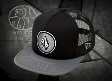 NEW Volcom Coast Cheese Mens Black Gray Snapback Trucker Cap Hat