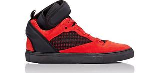 Balenciaga Men's Red Black Suede Neoprene Strap High Top Sneakers 6108 Sz 41 EUR