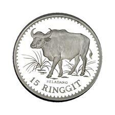 elf Malaysia 15 Ringgit 1976 Silver   Malaysian Gaur  Proof