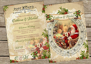 Christmas Wedding Invitations.Details About Personalised Vintage Postcard Christmas Wedding Invitations Packs Of 10