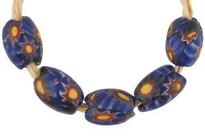 Rare-African-trade-beads-oval-old-millefiori-Venetian-glass-beads-Murano-mosaic
