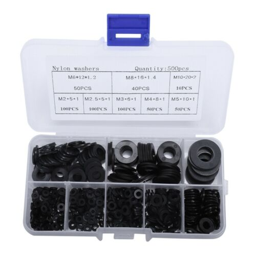 500Pcs//Set Joint En Nylon M2-M10 Joint En Plastique Rondelle Rondelle Plate W f4
