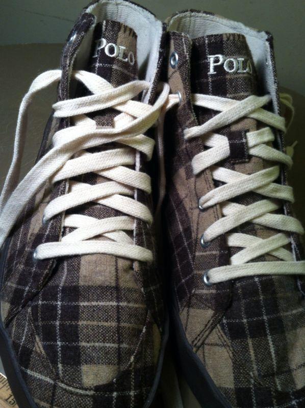 Polo Ralph Lauren MARRÓN BRONCEADO Franela A Hi Cuadros Hi A Top Pony Tenis Zapatos Talla 9.5 D 902476