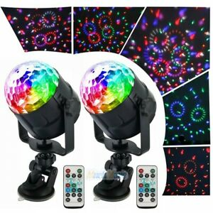 2xSound Activated LED Galaxy Starry Night Light Projector Party Remote Ball Lamp