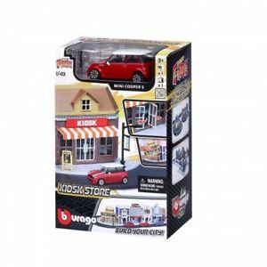 Bburago-Build-Your-City-Kiosk-Bausatz-1-43-mit-Mini-Cooper-S
