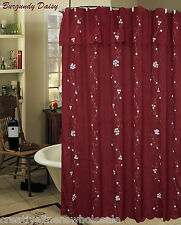 Creative Linens Daisy Embroidered Floral Fabric Shower Curtain Burgundy Holiday