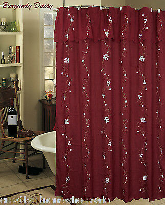 Creative Linens Daisy Embroidered Floral Fabric Shower