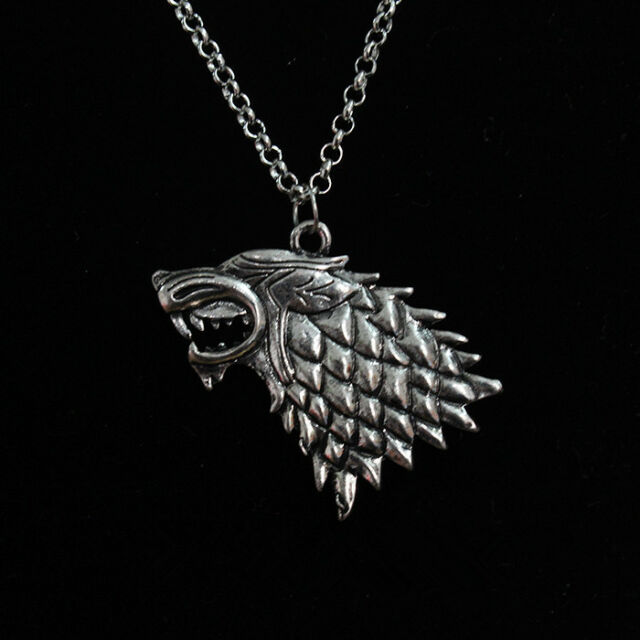"Trendy Vintage Silver ""Game of Thrones"" Stark Direwolf Pendant Inspired Necklace"