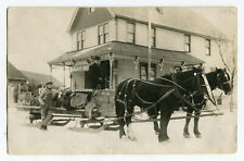 Pre Prohibition Pabst Saloon Horse Drawn Beer Delivery Sleigh Signs Bar WI RPPC