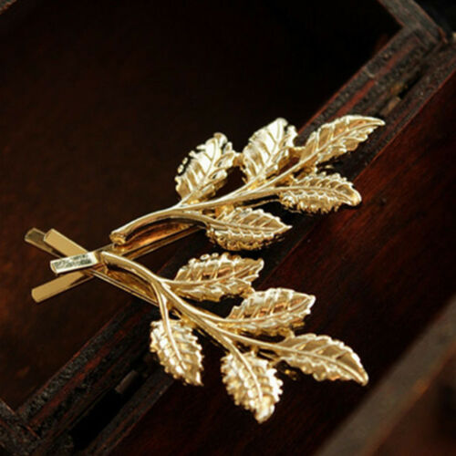 2pcs Leaf Shape Hair Pin Jewelry Women Retro Hair Clip Barrettes Bridal Pin