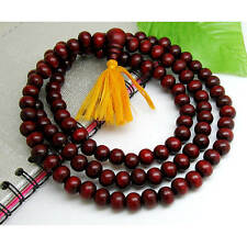 "Long 108 8mm Red Sandalwood Prayer Beads Mala Necklace -32"" with Golden Tassel"
