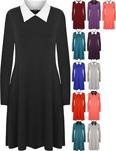 Womens-Ladies-Peter-Pan-Collar-Long-Sleeve-Flared-Swing-Dress-Top-Plus-Size-8-26