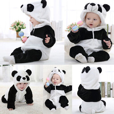 QixinWluo Infant Toddler Baby Boy Cartoon Panda Hat Jumpsuit Half Sleeve White Romper Clothes