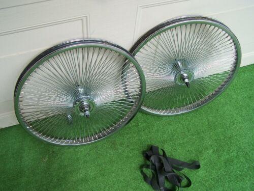 "PAIR WHEELS 20 /"" 144 SPOKES  REAR /& FRONT CB OR F//W  LOWRIDER  BMX BIKE"